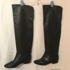 Kenneth Cole Black Leather Over the Knee Boots